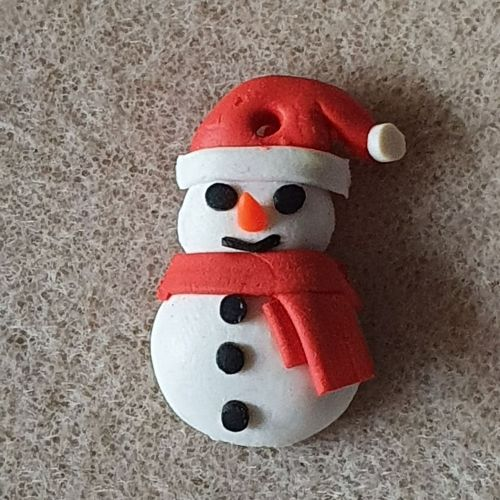 Snowman Polymer Clay Pendant