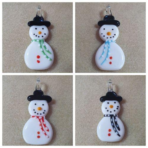 Snowman Lampwork Pendant