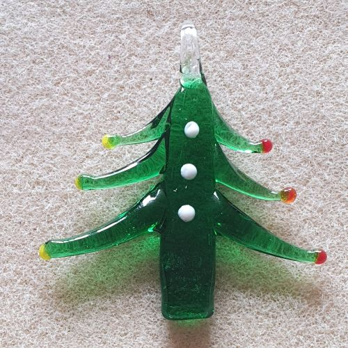 Christmas Tree Green Glass Pendant