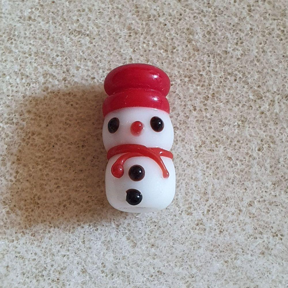 Snowman Lampwork Bead