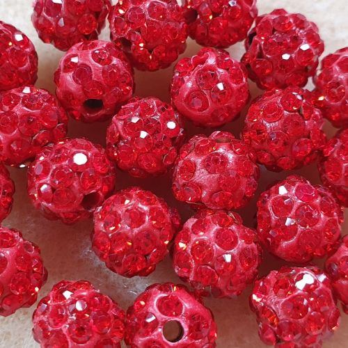 Disco Pave 8mm Bead Red