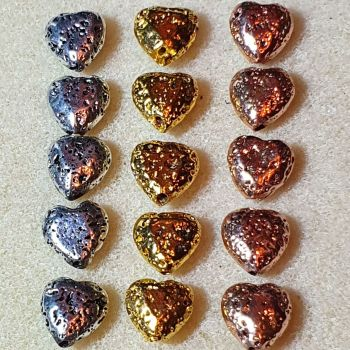 Electroplated Heart Lava Bead