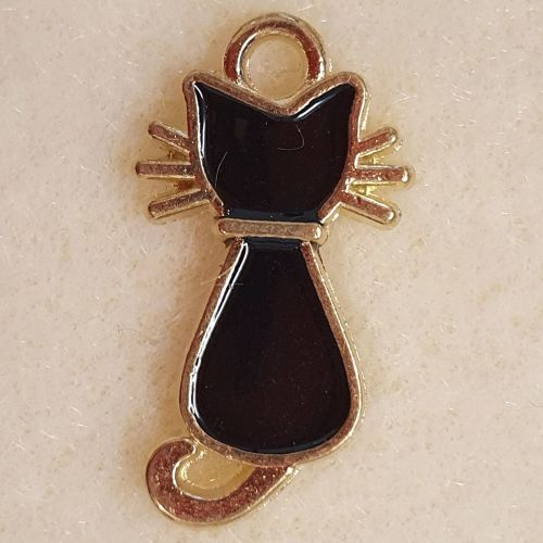 Cat Black Enamel and Gold Colour Metal Charm