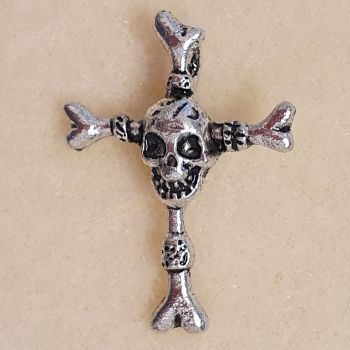 Crucifix with Skull Silver Colour Metal Pendant