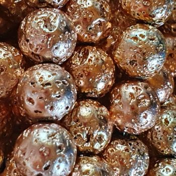 Sandy Brown Electroplated Lava Bead