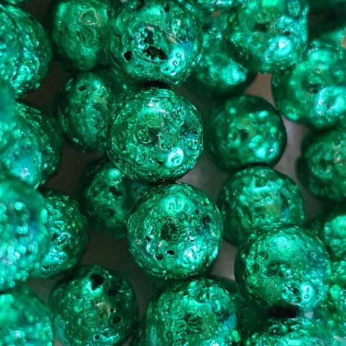 Spring Green Electroplated Lava Bead