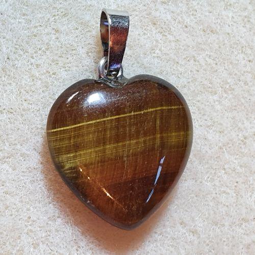 Natural Tiger Eye Heart Pendant