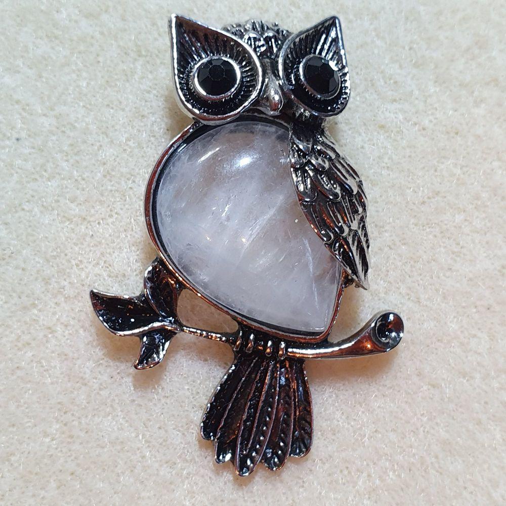 Owl Clear Quartz Gemstone Pendant