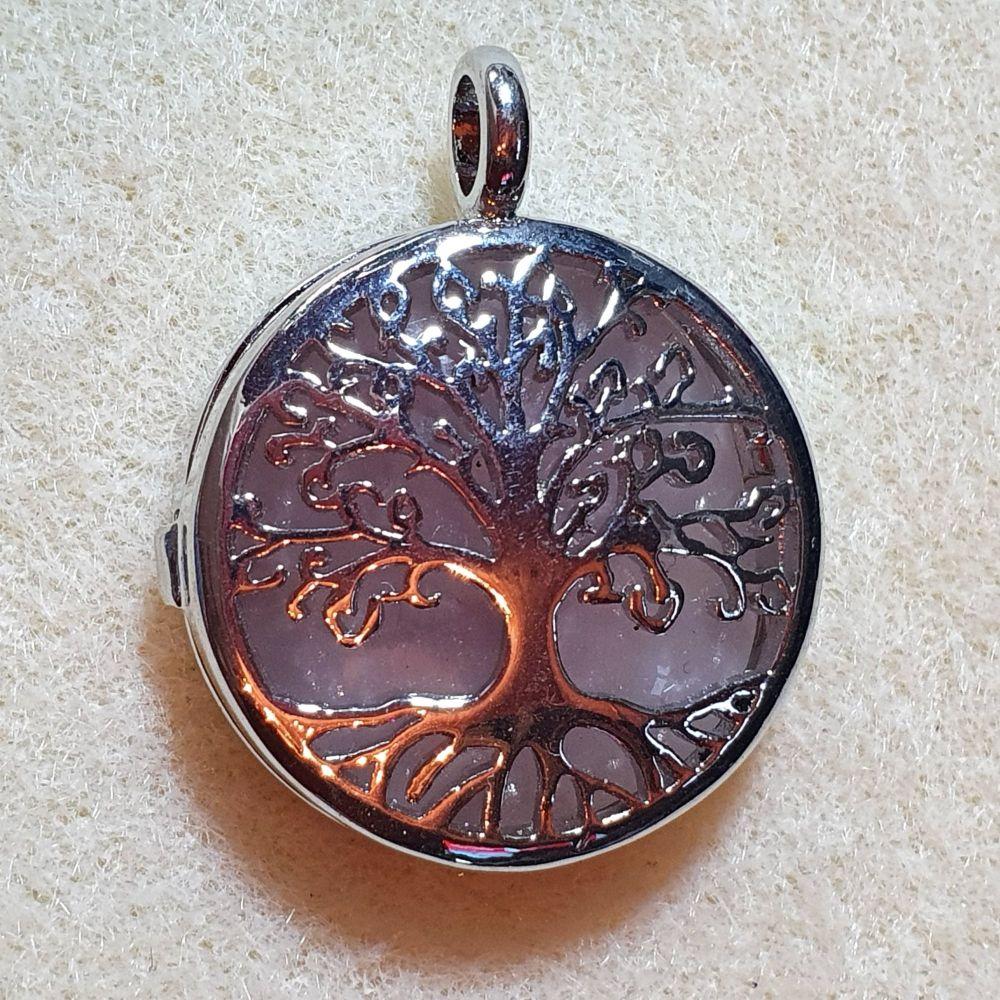 Rose Quartz Tree of Life Diffuser Pendant