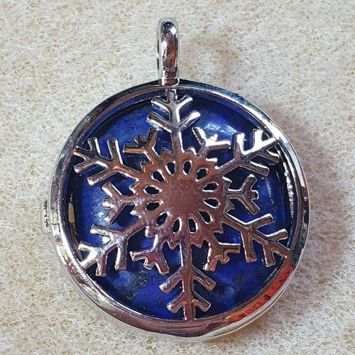 Lapis Lazuli Snowflake Pendant Diffuser Locket