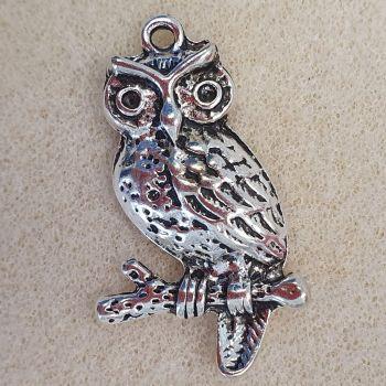 Owl Silver Colour Metal Pendant