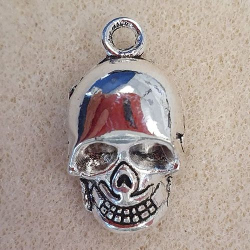 Skull Shiny Silver Colour Metal Charm