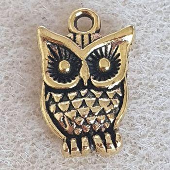 Owl Gold Colour Metal Charm