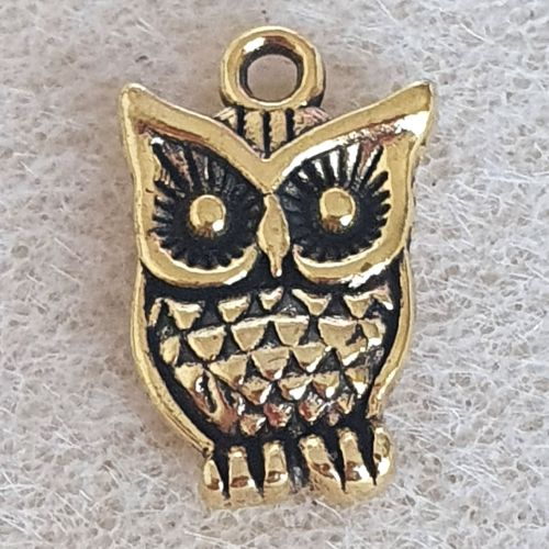 Owl Gold Colour Metal Charm