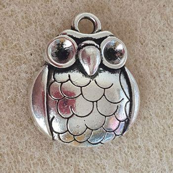 Owl Round  Silver Colour Metal Pendant