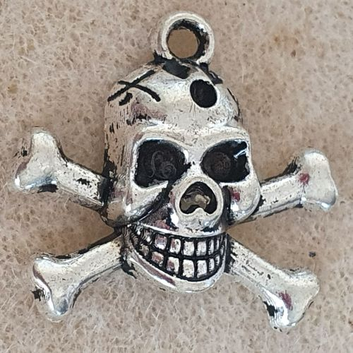 Skull and Crossbones Silver Colour Metal Charm