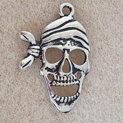 Skull Bandana Silver Colour Metal Charm