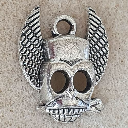 Skull Winged Silver Colour Metal Charm