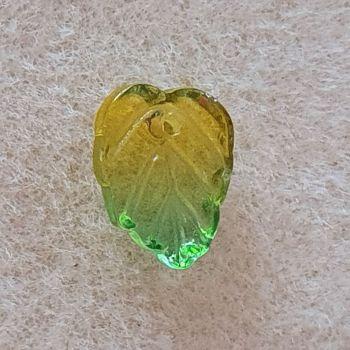 Leaf Yellow / Green Glass Bead