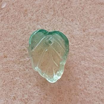 Leaf  Pale Green Glass Bead