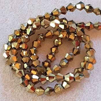 Golden Glass 4mm Faceted Bicone Beads