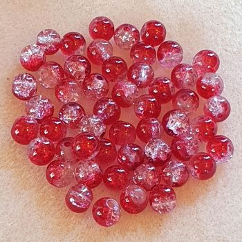 Red Clear Crackle Glass 6mm Beads
