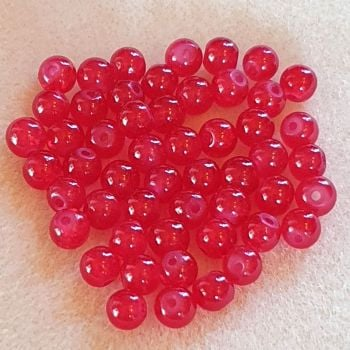 Red Crackle Glass 6mm Beads