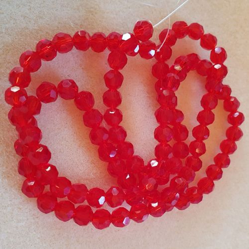 Red Faceted Round Glass 6mm Beads