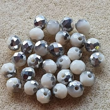 Silver and White Electroplate Glass Beads