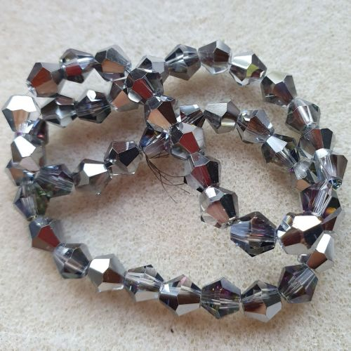 Silver Colour 6mm Glass Bicone Beads