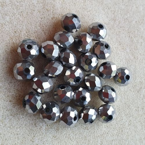 Silver Colour Electroplated Facetted Rondelle Glass Beads