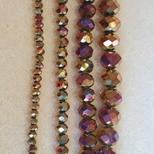 Rose Gold Plated Electroplate Glass Bead Strands Faceted Rondelle