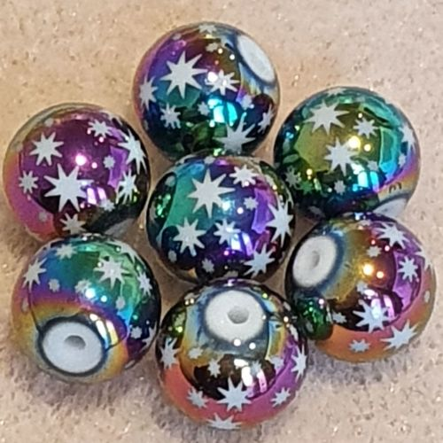 Multi-color Plated Star Glass Bead