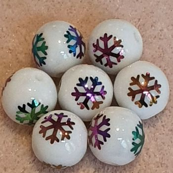 Multi-color Plated Snowflake Glass Bead