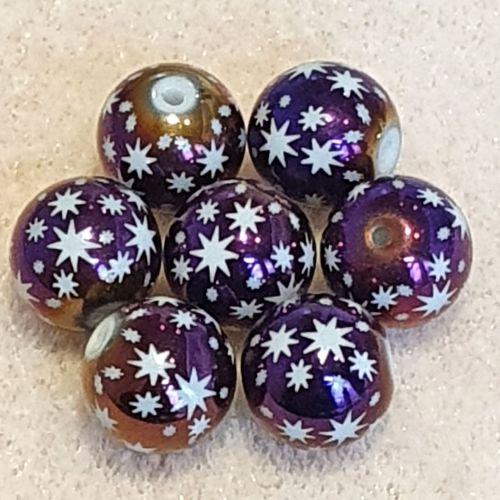 Purple Plated Stars Glass Bead