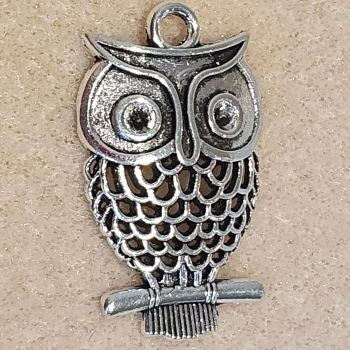 Owl Detailed Silver Colour Metal Pendant
