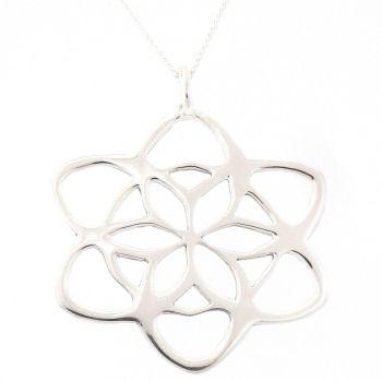Fretwork flower pendant