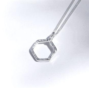Tiny hexagon pendant