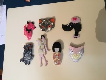Deco style plastic brooches