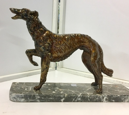 Borzoi figure on marble