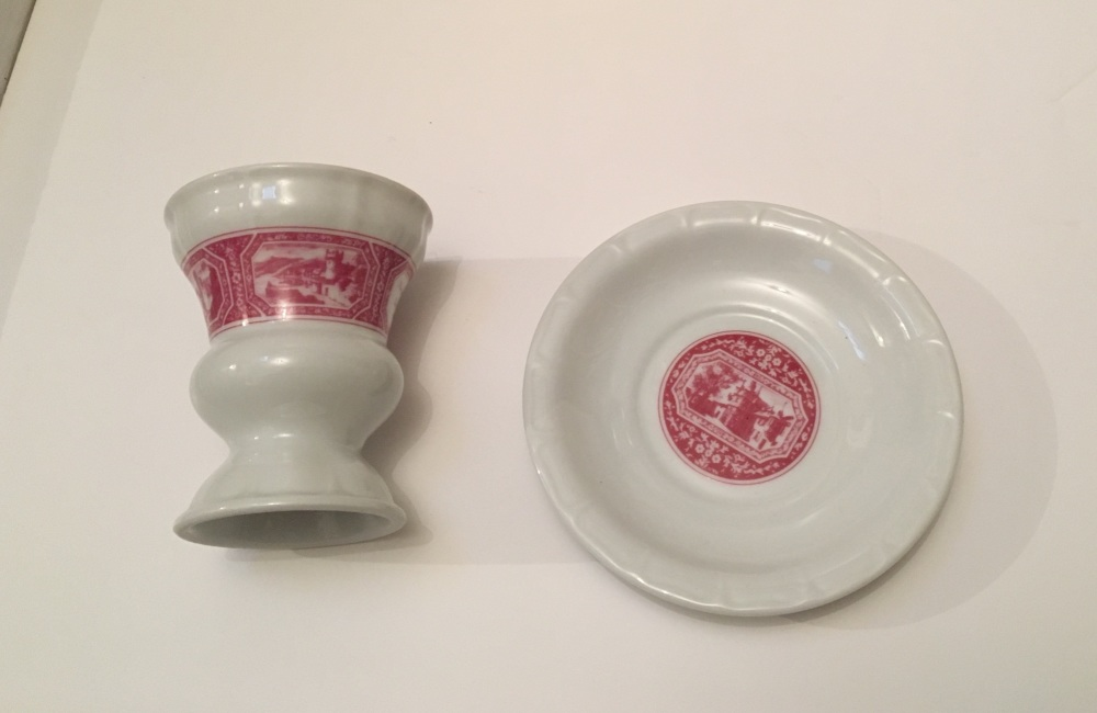 New In - Heindrich ( Germany ) - a pair of pink & white tall cups and sauce