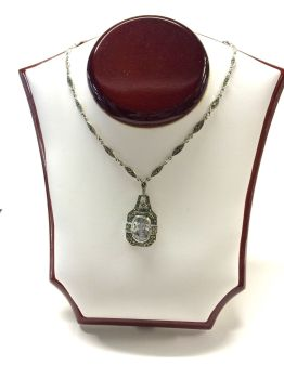 Silver and marcasite necklace with clear central crystal . Art-deco style