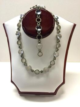 Silver and marcasite necklace and matching bracelet with
