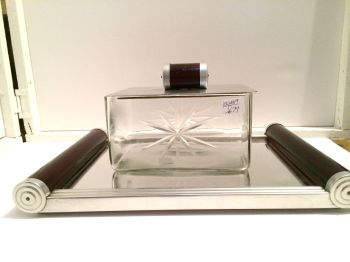 Art deco mirrored tray with glass box .