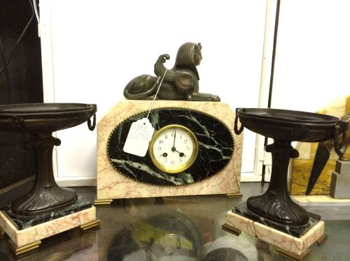 Egyptian influenced Art-Deco marble clock - working .