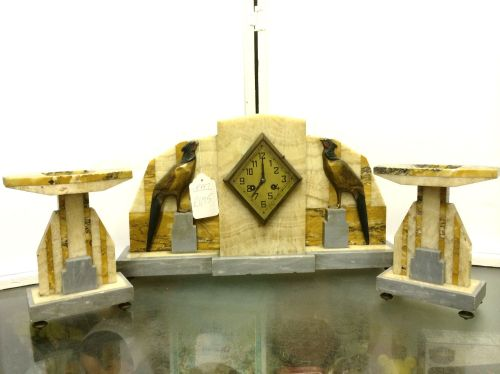 Art Deco marble clock and garnitures with bird detail
