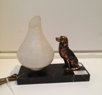 Dog figure with lamp