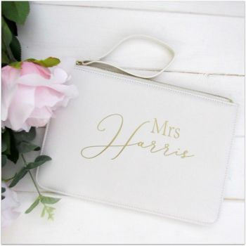 Personalised Leather Look MRS Clutch Bag With Metal Zip & Strap
