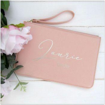 Personalised Leather Look Bride Clutch Bag With Metal Zip & Strap