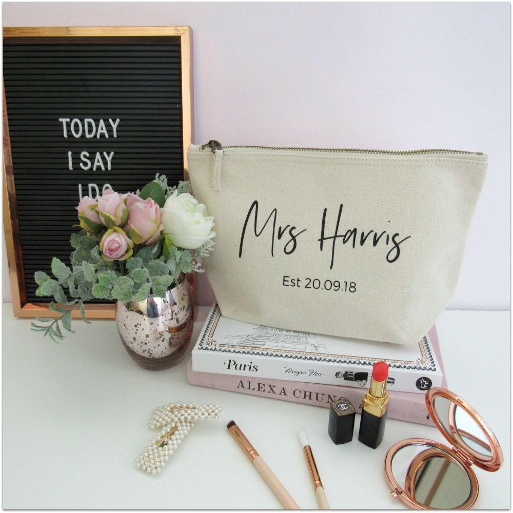 Personalised MRS EST Cotton Cosmetic Make Up Bag